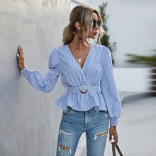 Vertical Striped Belted Peplum Blouse