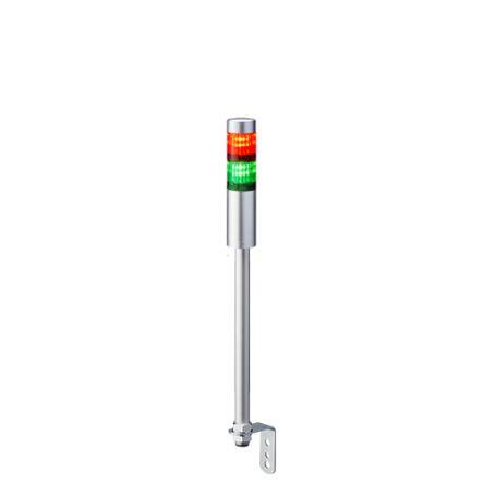 Patlite LED Pre-Configured Beacon Tower, 2 Light Elements, Green, Red, 24 V dc
