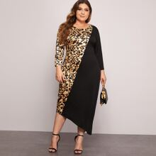 Plus Contrast Leopard Print Panel Dress
