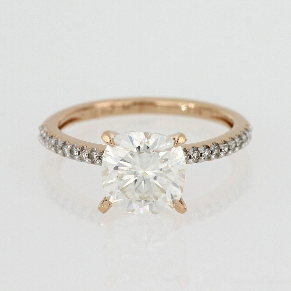 Exclusive - 2ct TGW Moissanite and 1/10ct TDW Diamond Engagement Ring in 14k Rose Gold by Miadora (9)