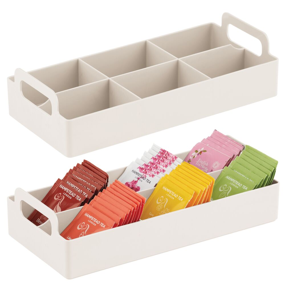 mDesign 6 Compartment Tea Bag Holder and Condiment Organizer with Handles in Cream, 5.7