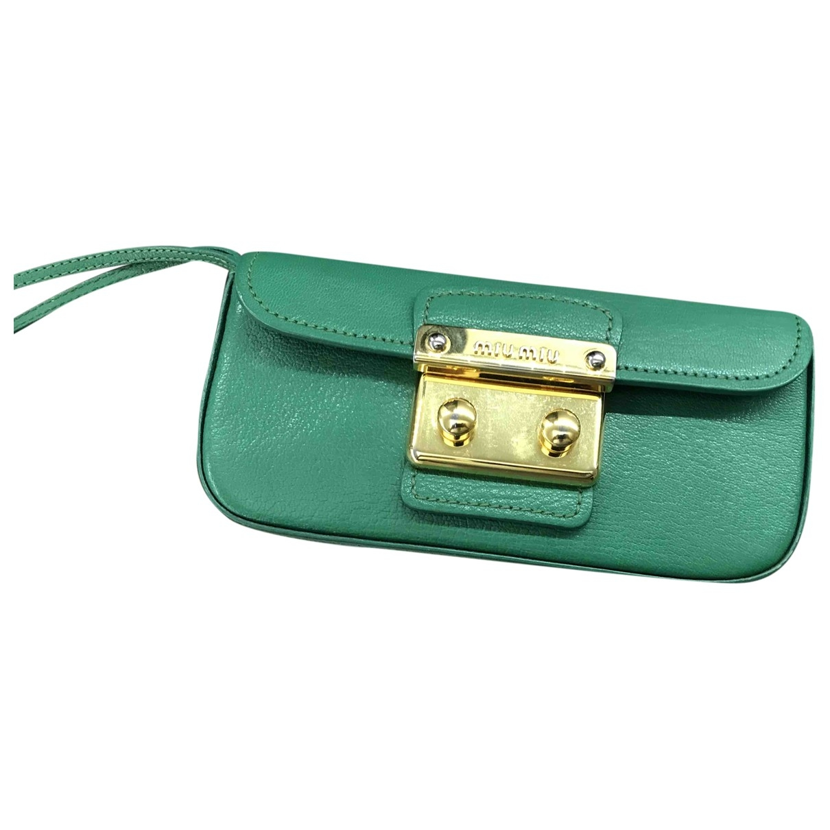 Miu Miu Madras Clutch in  Gruen Leder