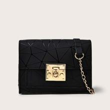 Geometric Graphic Flap Crossbody Bag