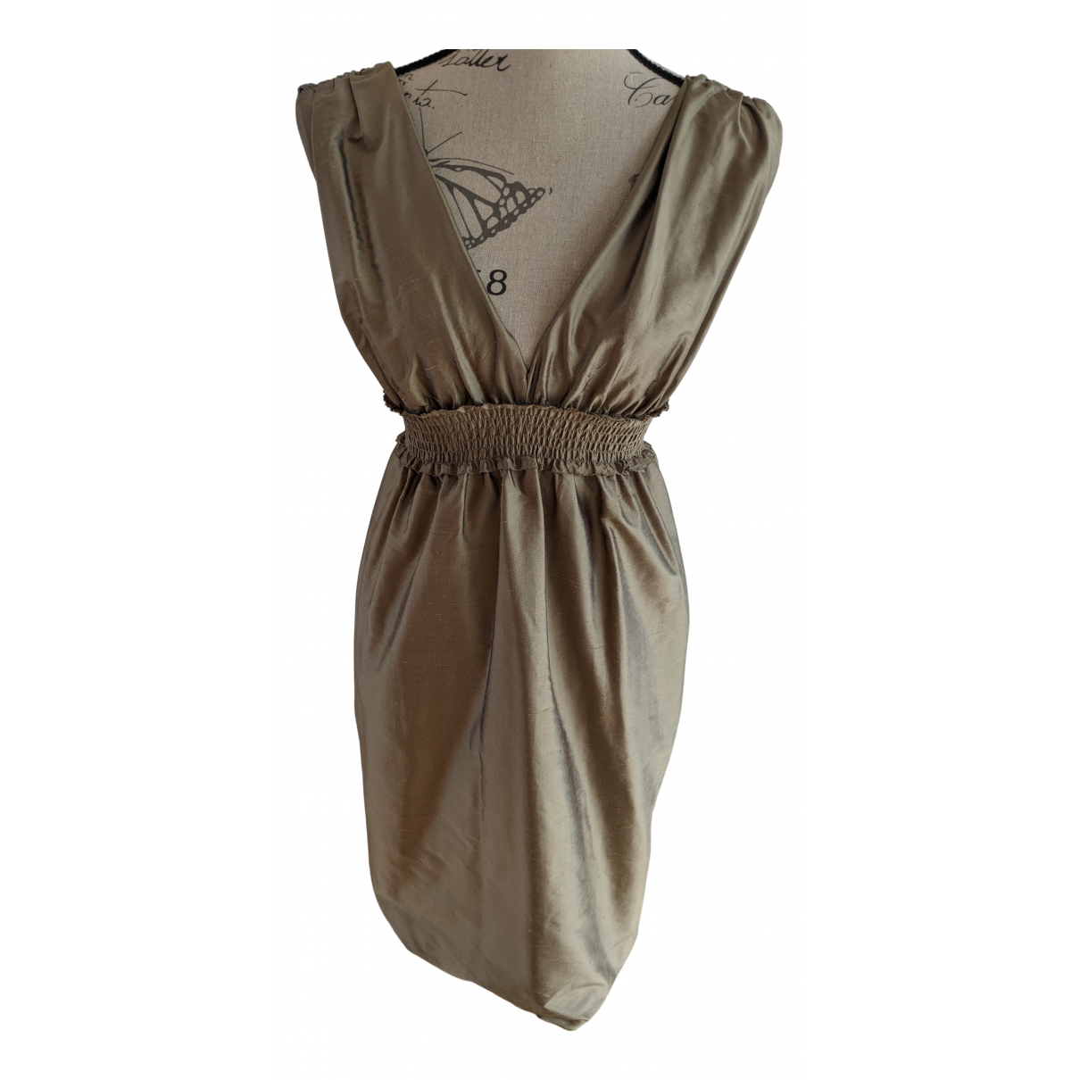 Vera Wang N Gold Silk dress for Women 8 UK