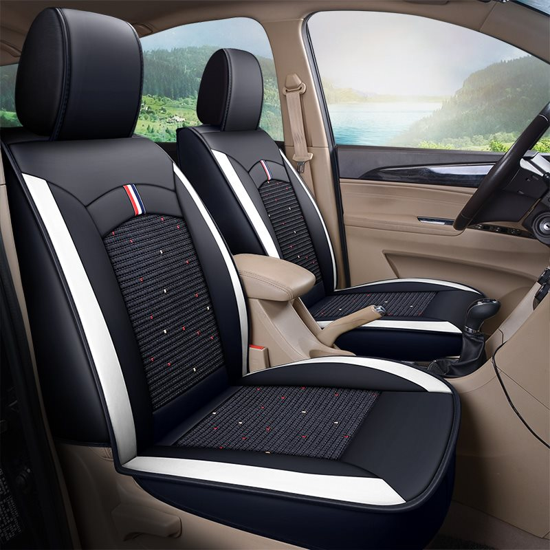 Full Coverage Wear Resistant Durable Leather And Linen 1 Front Car Seat Cover Suitable For Most Cars/ 7-Seater Seat Covers Can Be Customized