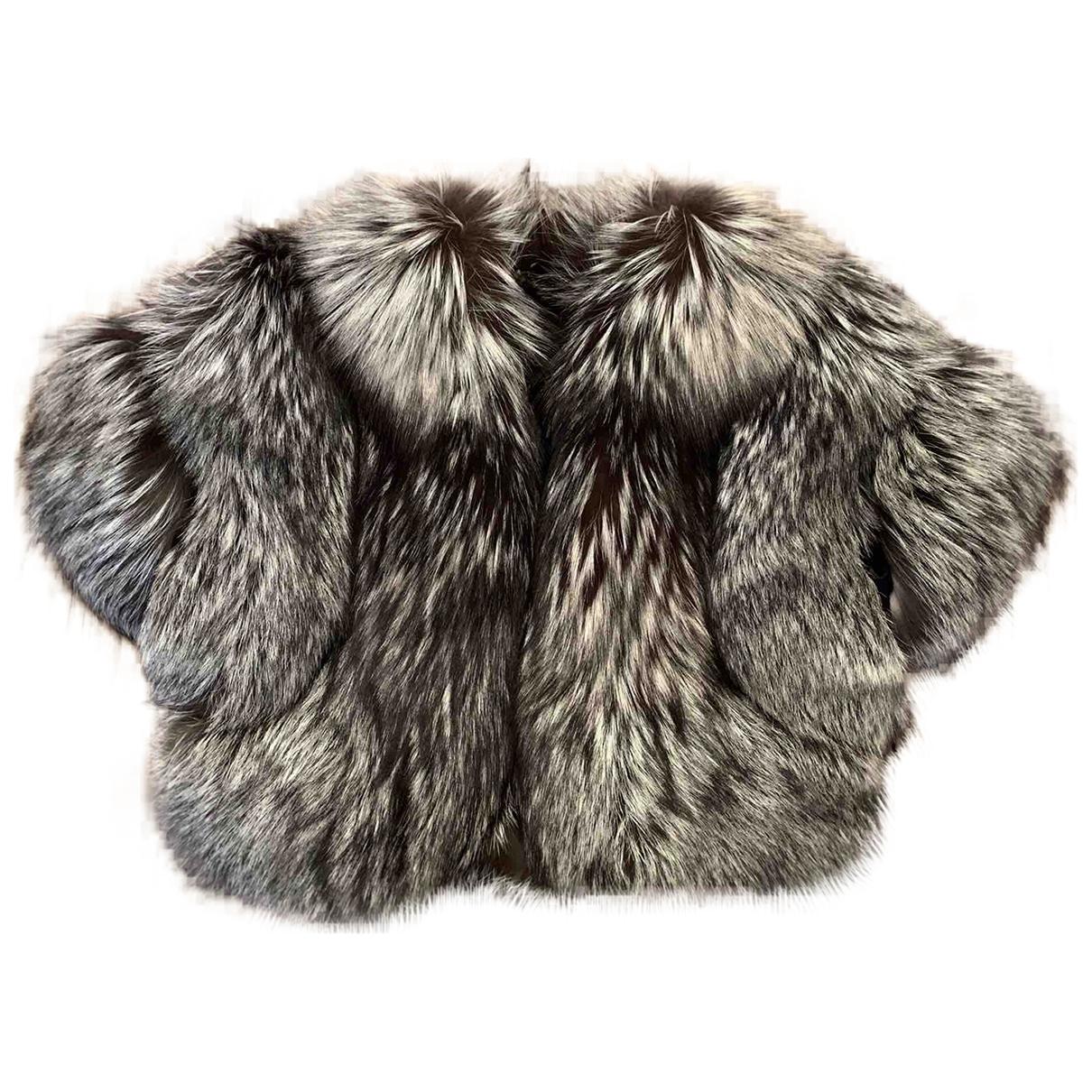 - Manteau   pour femme en renard - noir