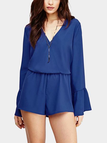 Yoins V Neck Bell Sleeve Playsuit in Blue