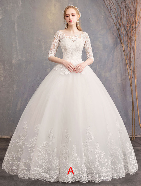 Milanoo Princess Wedding Dresses Lace Illusion Neckline Half Sleeve Floor Length Bridal Gown