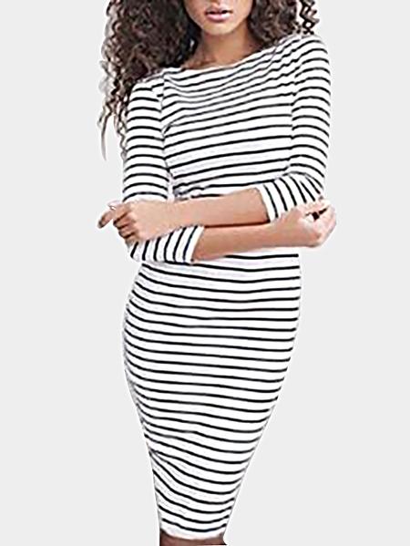 Yoins Sexy White Stripe Pattern Bodycon Midi Dress