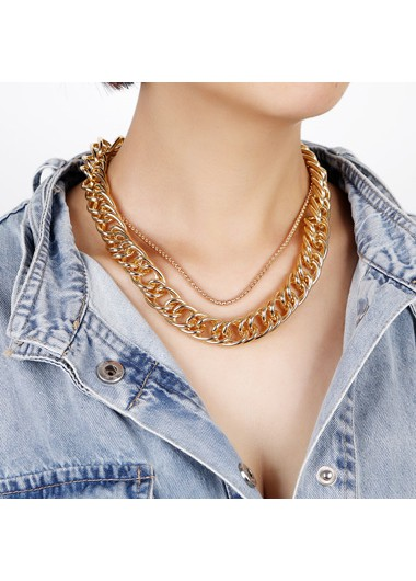Mother's Day Gifts Layered Gold Metal Wide Chain Necklace - One Size