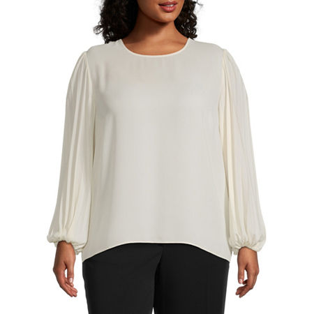 Worthington Womens Long Sleeve Pleat Blouse - Plus, 4x , White