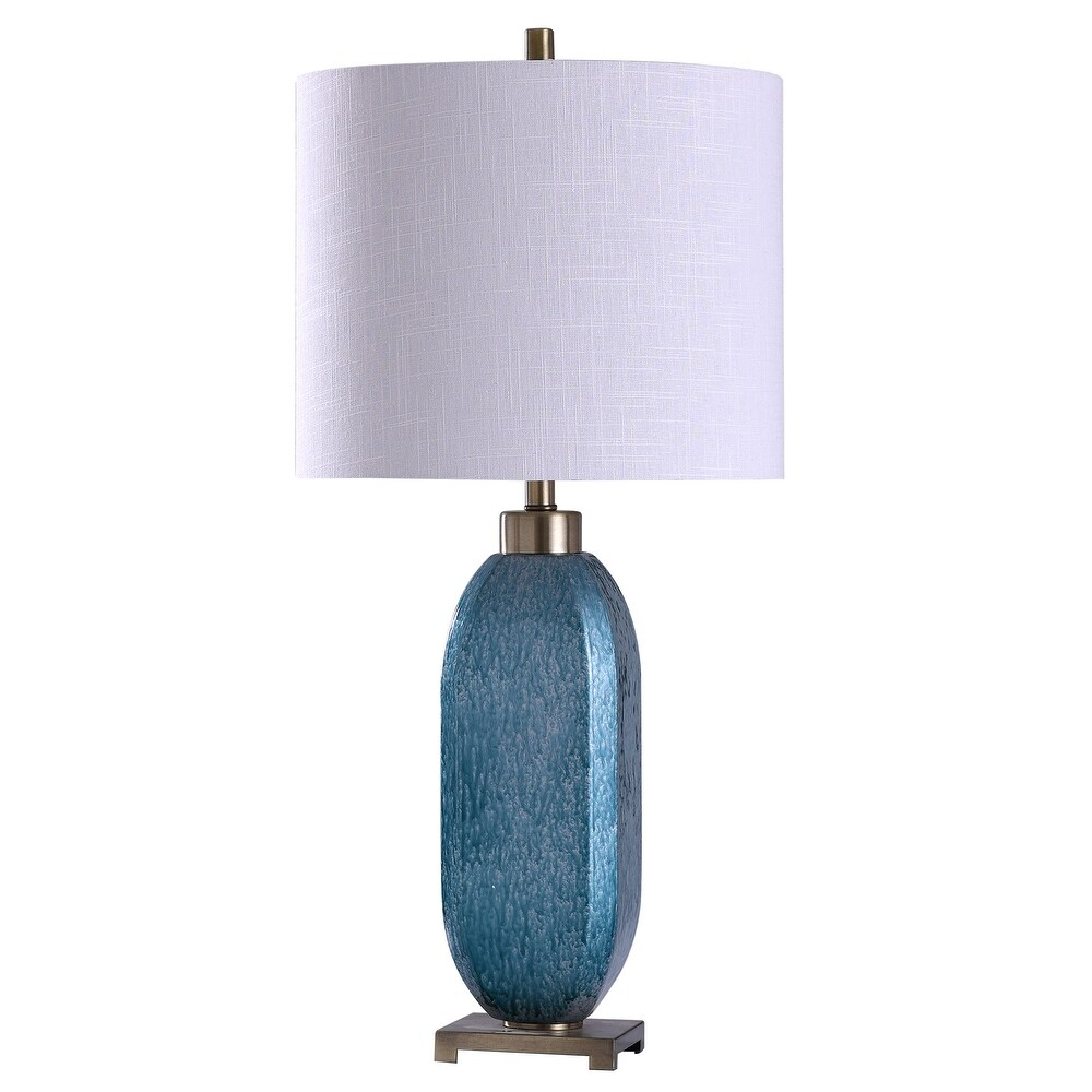 StyleCraft Maldon Brushed Steel Textured Drip Blue Glass Table Lamp with White Tapered Drum Shade (Blue)