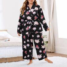 Satin Schlafanzug Set mit Blumen Muster und Guertel