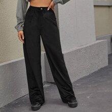 Pantalones Boton Liso Elegante