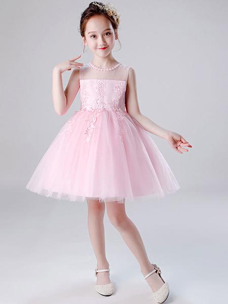 Milanoo Flower Girl Dresses Jewel Neck Tulle Sleeveless Knee Length Princess Silhouette Embroidered Kids Social Party Dresses