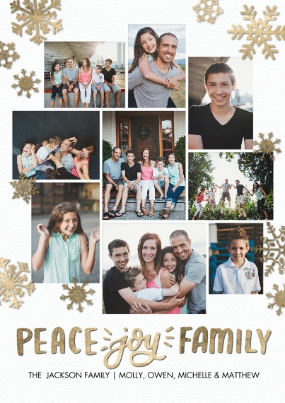 Christmas Photo Cards 5x7 Cards, Premium Cardstock 120lb with Rounded Corners, Card & Stationery -Holiday Peace Joy Script by Tumbalina
