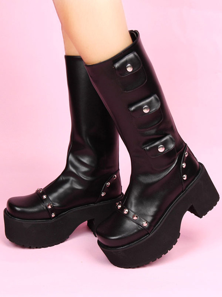 Milanoo Black Lolita Boots Chunky Heel Mid Calf Platform Gothic Lolita Boots With Embellished Pockets