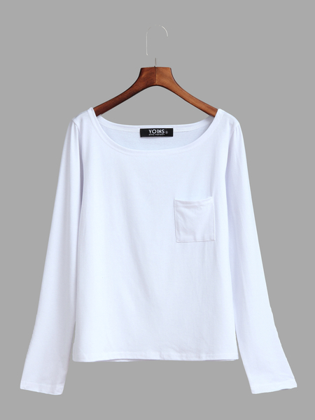 Yoins White One Shoulder Chest Pockets T-shirt
