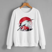Red-crowned Crane & Floral Print Sweatshirt