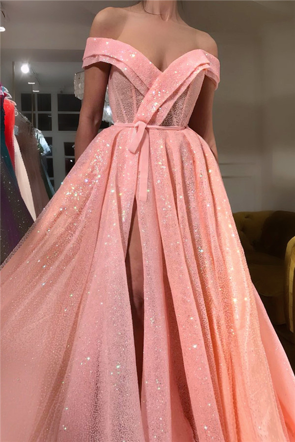 Sparkly Sequins Off the Shoulder Sweetheart Prom Dress   Sexy Sleeveless Front Slit Long Prom Dress