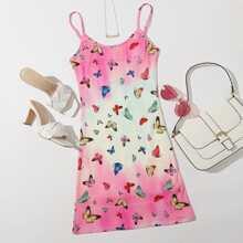 Cami Kleid mit Schmetterling Muster