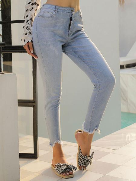 Milanoo Pantalones de las mujeres del cielo azul claro informal apretada conica Denim Pantalones