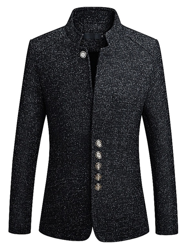 Ericdress Plain Slim Fit Stand Collar Mens Jacket Blazer