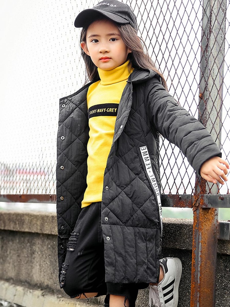 Ericdress Fashion Letter Print Pleated Hooded Down Jacket