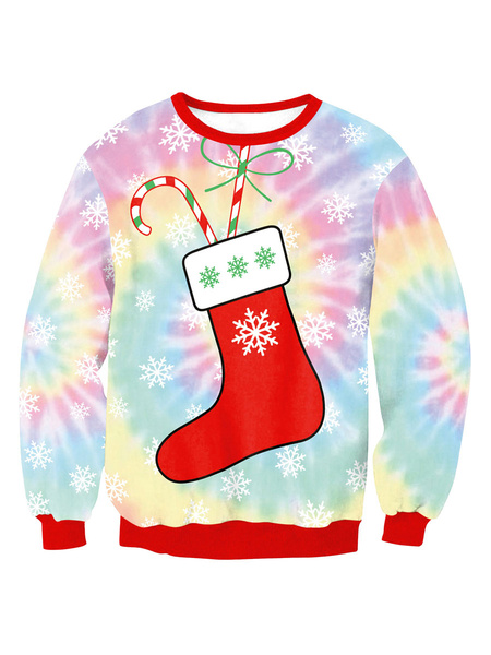 Milanoo Christmas Pullover Sweatshirt Socks Print Ugly Christmas Tops