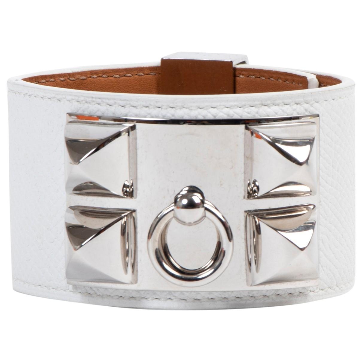 Hermes - Bracelet Collier de chien  pour femme en cuir - blanc