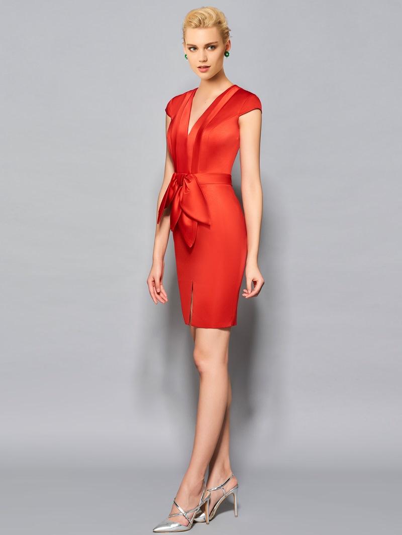 Ericdress Sheath Cap Sleeve Bowknot Front Short Cocktail Dress