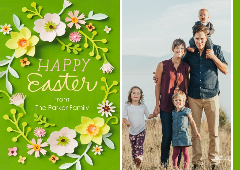 Easter Cards 5x7 Cards, Standard Cardstock 85lb, Card & Stationery -Easter Papercraft Flowers