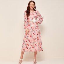 Floral Print Applique Detail Bishop Sleeve Dress
