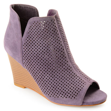 Journee Collection Womens Andies Wedge Heel Pull-on Booties, 7 Medium, Purple