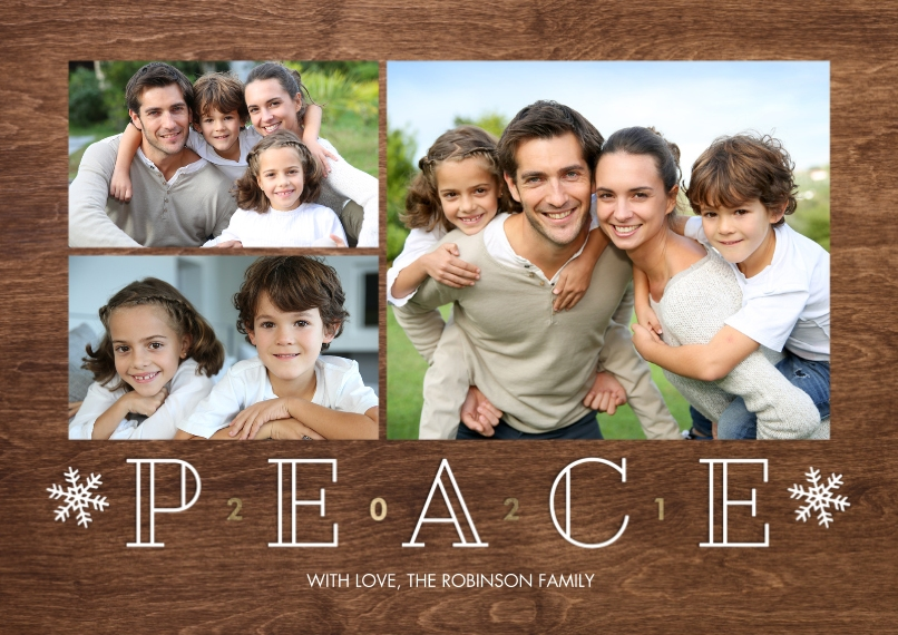 New Year's Photo Cards Flat Glossy Photo Paper Cards with Envelopes, 5x7, Card & Stationery -New Year 2021 Peace Collage by Tumbalina