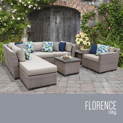 FLORENCE-08g-BEIGE Florence 8 Piece Outdoor Wicker Patio Furniture Set 08g with 2 Covers: Grey and