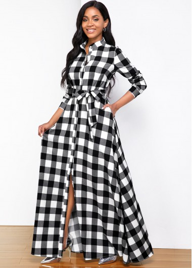 Cocktail Party Dress Stand Collar Plaid Print Long Sleeve Shirt Dress - L