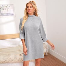 Stand Collar Drop Shoulder Lounge Dress
