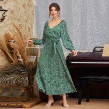 Ditsy Floral Surplice Neck Belted Dress