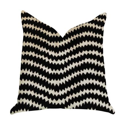 Onyx Collection PBRA1377-1818-DP Double sided  18 x 18 Plutus Jagged Fringe Luxury Throw Pillow in Black and