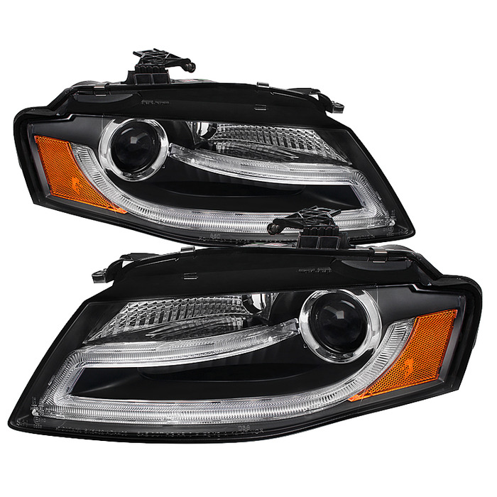 Spyder Auto PRO-YD-AA408-DRL-BK Black DRL LED Projector Headlights Audi A4 with Halogen Lights 09-12