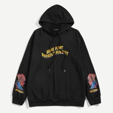Men Letter and Fish Print Hoodie