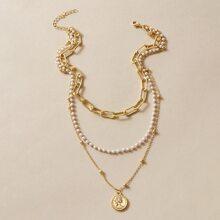 1 pieza collar a capas con diseño de perla artificial con diseño de moneda