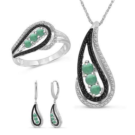 Diamond Accent Genuine Green Emerald Sterling Silver 3-pc. Jewelry Set, 8 , No Color Family