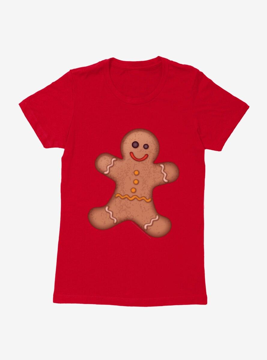 Emoji Holiday Icons Gingerbread Man Womens T-Shirt