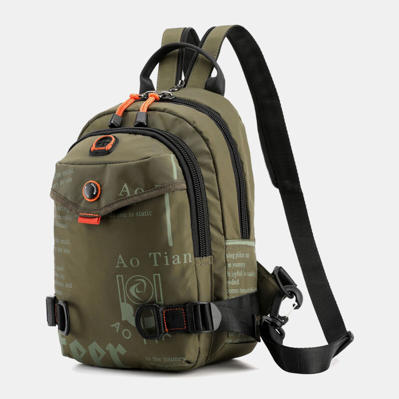 Men Casual Sling Bag Headphone Plug Backpack