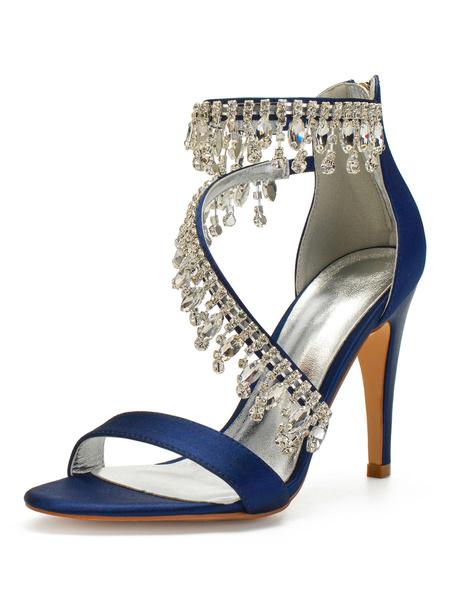 Milanoo Satin Wedding Shoes Burgundy Rhinestones Open Toe Stiletto Heel Bridal Shoes Mother Shoes