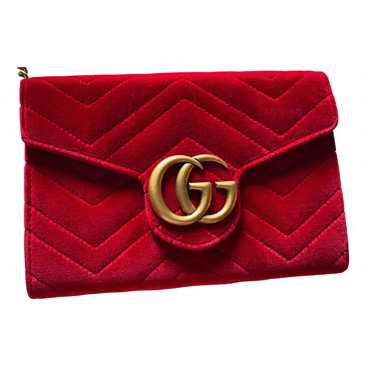 Gucci Marmont Clutch in  Rot Samt