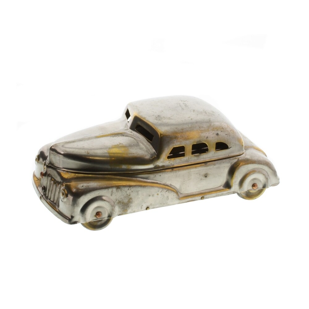 Car Shaped Metal Frame Storage Box, Brass and Silver (Silver)