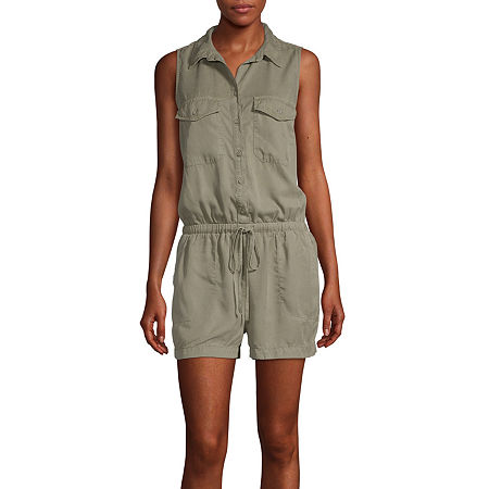 a.n.a-Tall Womens Sleeveless Romper, Xx-large Tall , Green